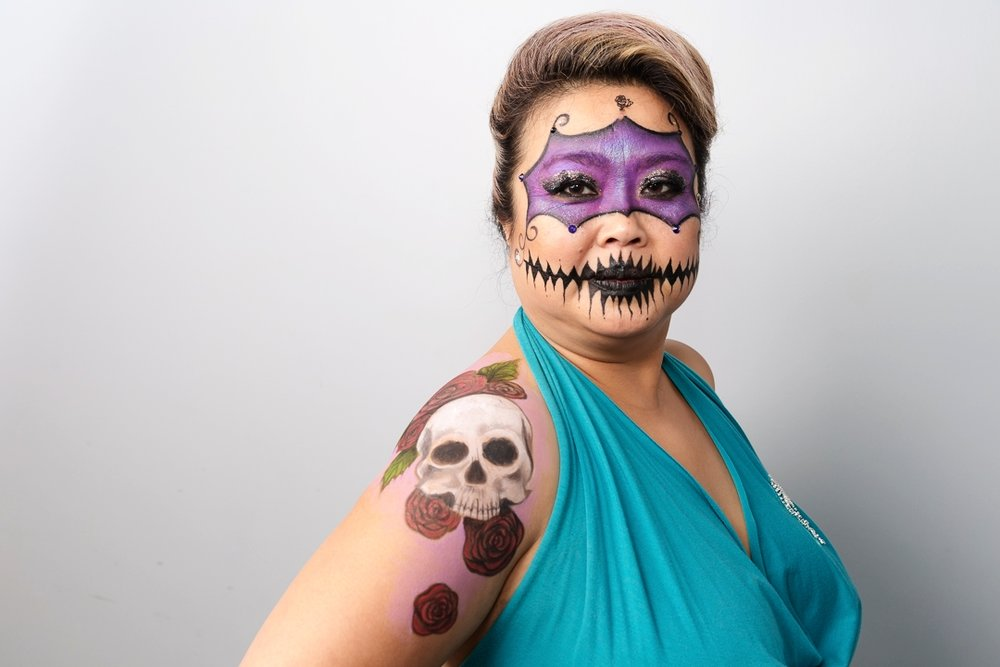 Hand-painted mask and body art