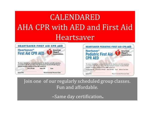 CALENDERED AHA CPR & FIRST AID — CPR Angeles.com