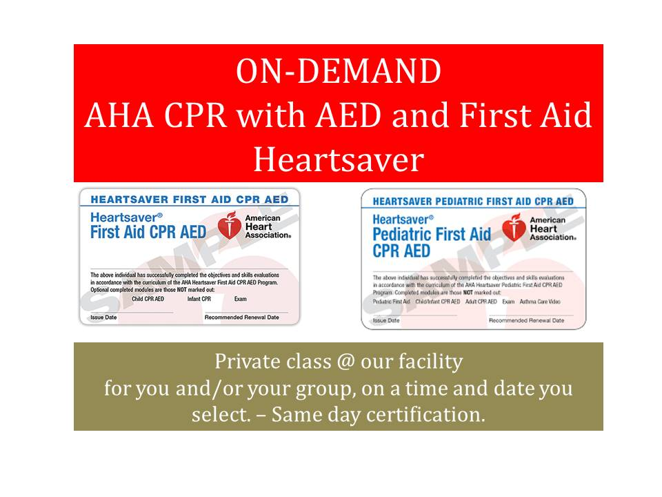ON-DEMAND AHA CPR & FIRST AID OR BLS