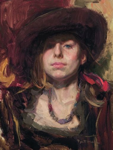 Burdick-Hope In Brown Hat 24x18 Oil $4200.00.jpg