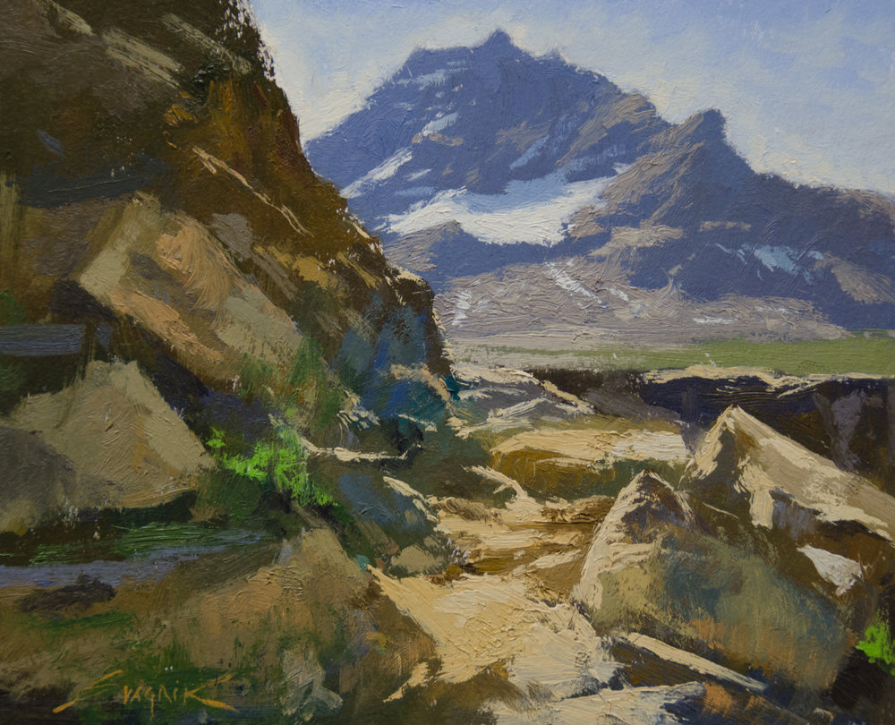 Near Lake O'Hara 8x10 oil $1800 ( available at Rowe Gallery Sedona AZ)