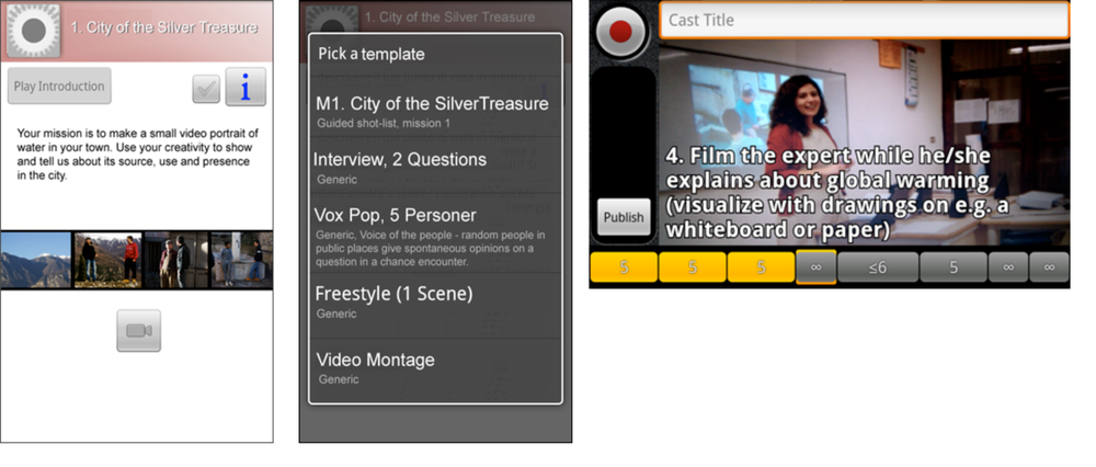 Screenshots of mobile phone: introductory video, templates, video template consisting of 8 shots.