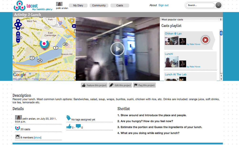 HealthDiary website provides interaction and storage of videos of your everyday activities.