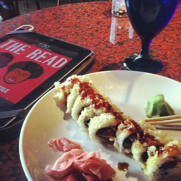 Listening to The Read on my lunch break. Nothing's better than sushi + shade. ^_^  Matthew W. Atlanta, Georgia, USA