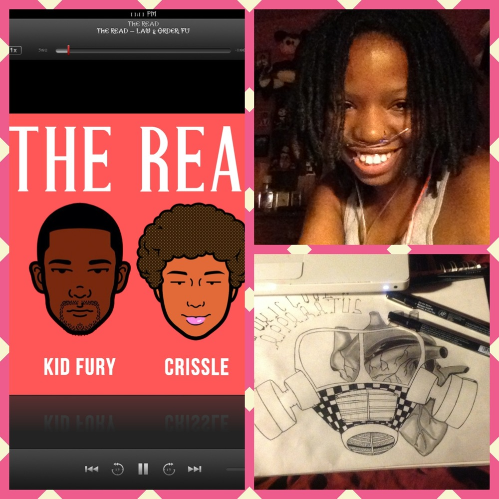 Enjoying two of my favorite things. The Read and my art. Thanks for the late night laugh Crissle & Kid Fury.   Epiphanie M. Inkster, Michigan, USA