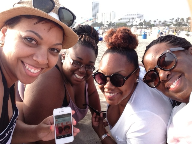 4 Oklahoma girls listening to The Read on the beach in Santa Monica. Amanda K., Cooki T., Brittany C., and Ashley E. Oklahoma City, Oklahoma, USA