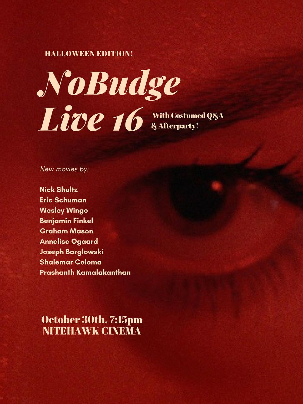 nobudge live 16 - halloween edition — nobudge