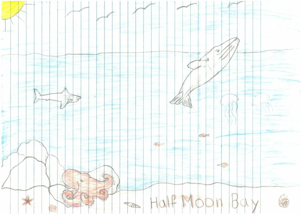Victor M., Age 11, won the 3-5 category with his 'A Day At the Beach'. The Half Moon Bay inspired him for the good times he has had there and the beautiful sights he has taken in.