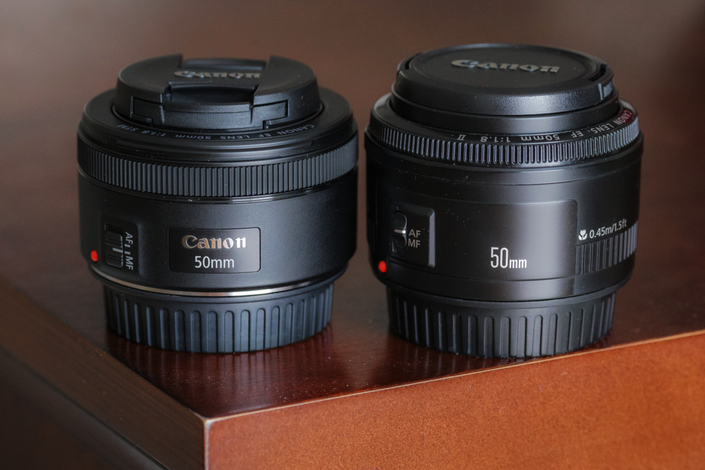 Canon 50mm f/1.8 STM (left) and its predecessor, the Canon 50mm f/1.8 II (right). Sample images below.