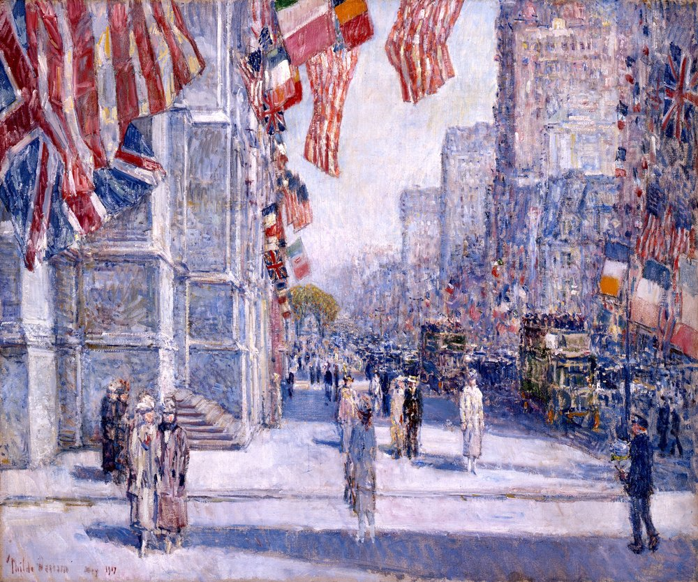 Childe Hassam,  Early Morning on the Avenue in May 1917,  1917, Addison Gallery of American Art, Phillips Academy, Andover, MA