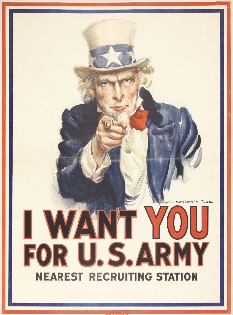 James Montgomery Flagg,  I Want YOU for U.S. Army, Nearest Recruiting Station , 1917, Collection of Walton Rawls