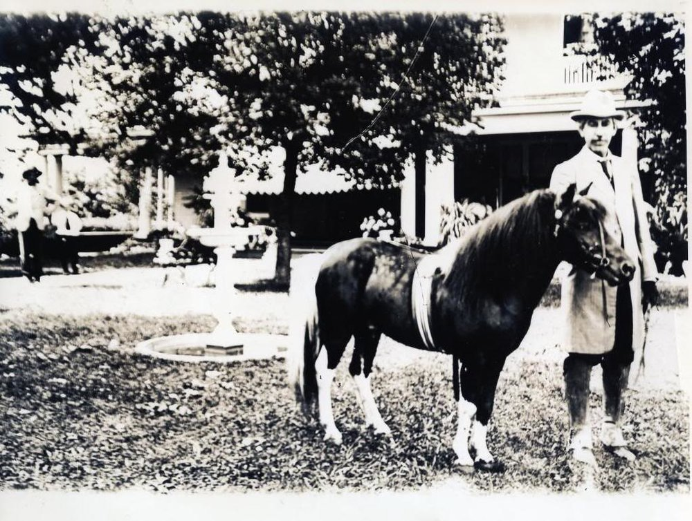 """George R. Stuart with pony """"Pasha,"""" outside his residence on 17th Street in Cleveland, Tennessee (now the site of Faith Memorial Church). Photo:family collection."""