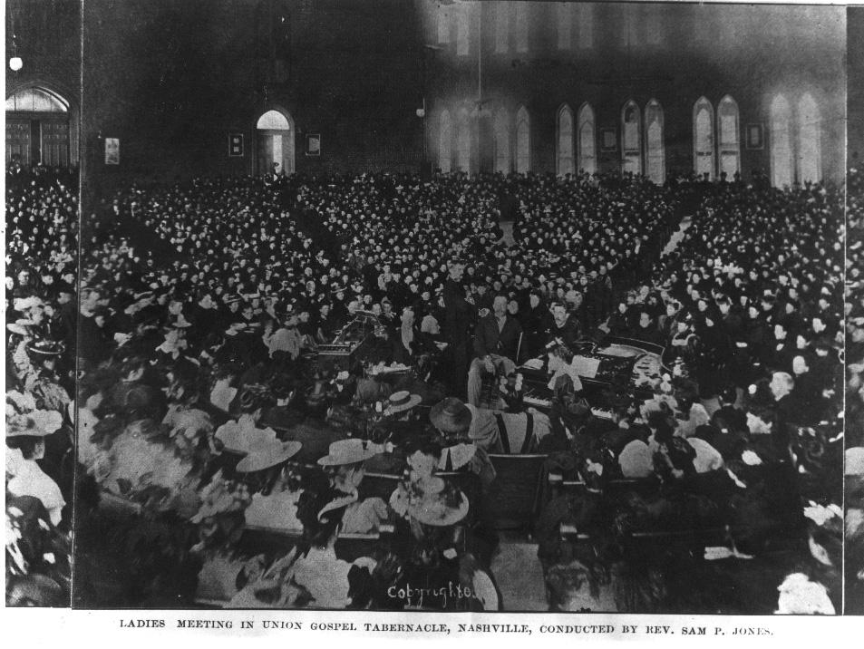 Ladies' meeting (revival) at Union Gospel Tabernacle, conducted by Rev. Sam Jones, 1896. TSLA.