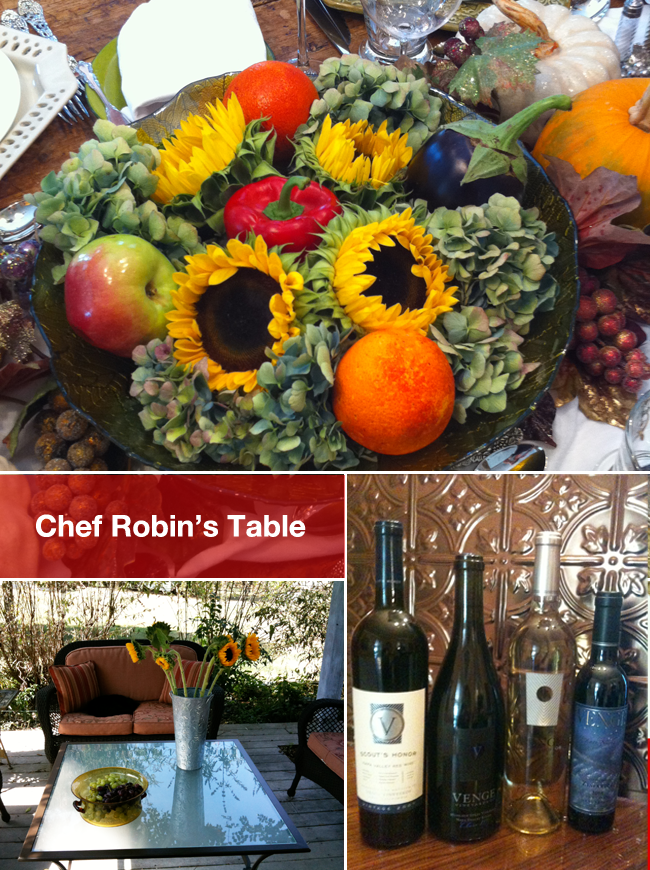 "The setting for the very first ""virtual dinner"" where Chef Robin paired recipes with Venge wines, shared them out in advance and gathered via the internet to share the same meal with social media users from all over America."