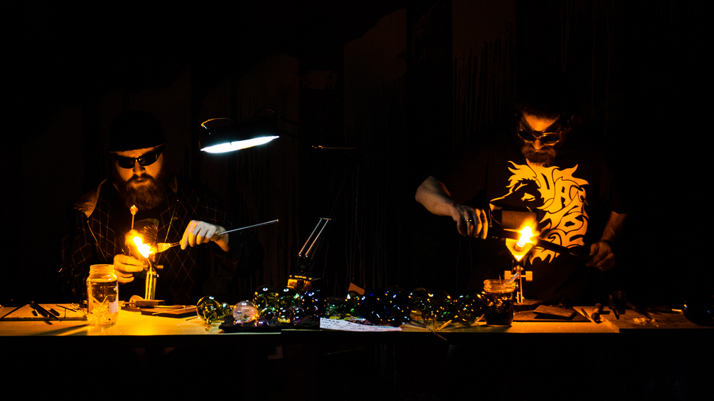 Nationally acclaimed glassblower Eran Park and Thomas Swick churn out delicate pieces