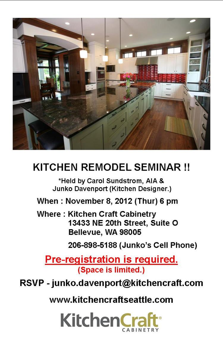 Upcoming Kitchen Remodel Seminar, Nov. 8th, Kitchen Craft Bellevue ...