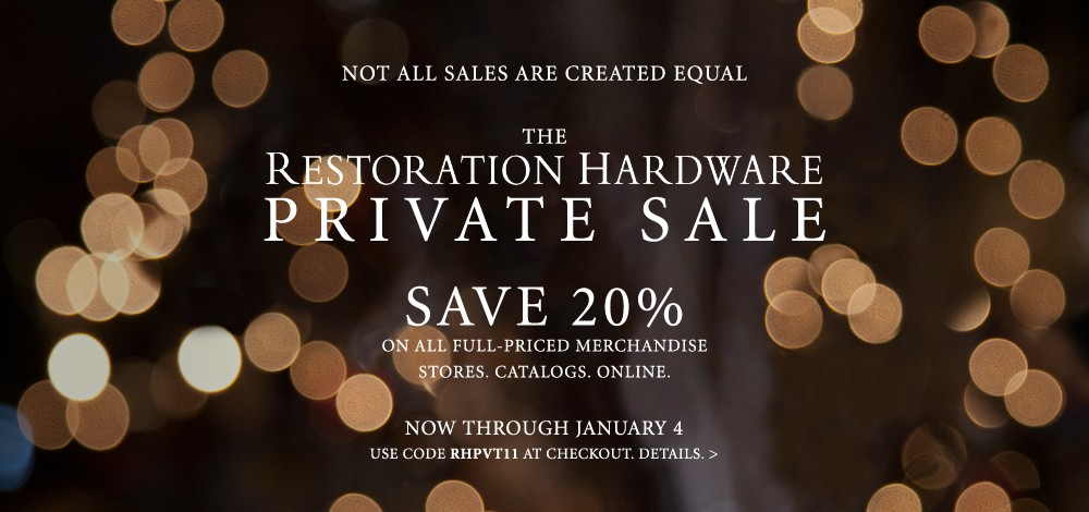 Deals at Restoration Hardware and the Container Store