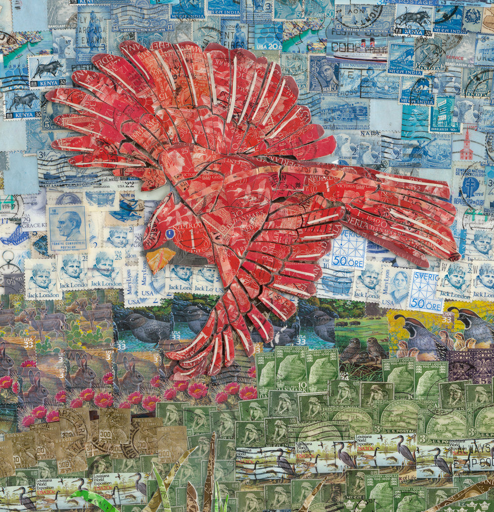 "Detail of Cardinal in ""Nature Reclaims a Golf Course""."