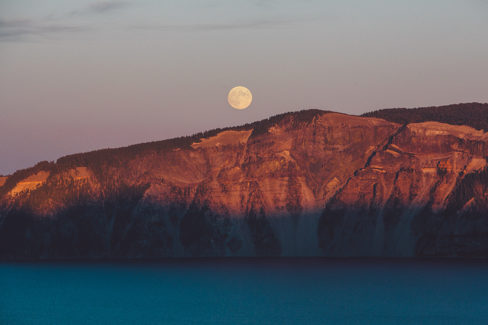 Crater lake full moon