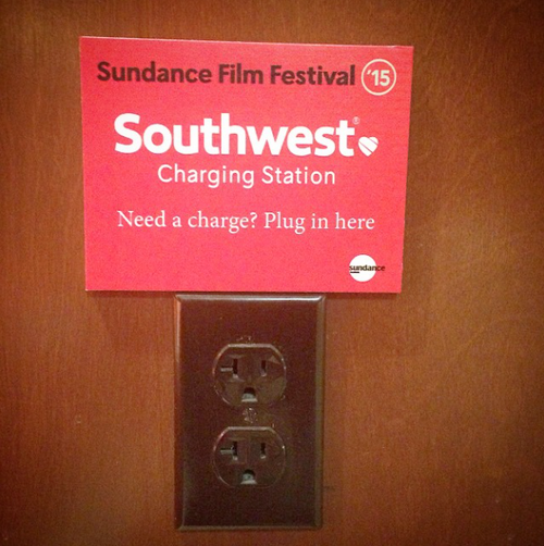 Southwest Charging Station at Sundance by @cinejoe on Instagram.