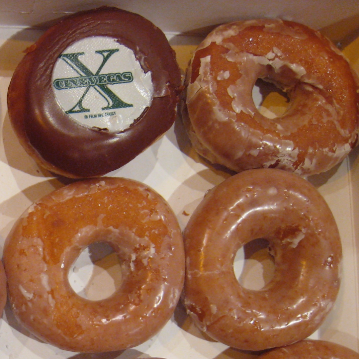 Yes, you're seeing that right. CineVegas Krispy Kreme donuts. Photo © Film Festival Secrets.