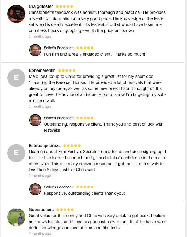 Here are some of my recent reviews from the platform where I previously offered a similar service.
