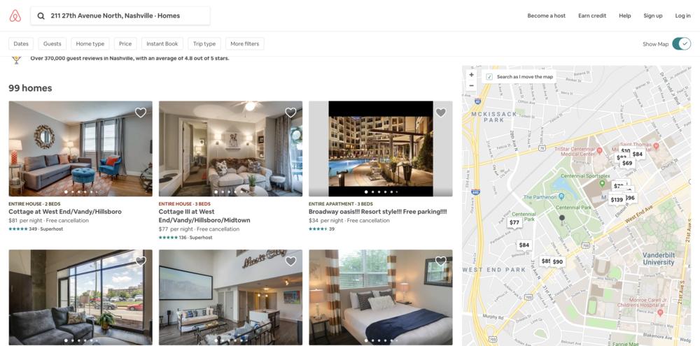 Airbnb: search near 211 27th Avenue North, Nashville, TN 37203
