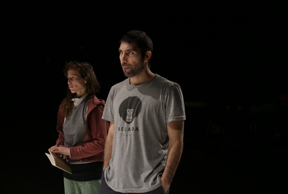 Ariel Freedman and Roy Assaf in rehearsl for Girls with New Dialect.png