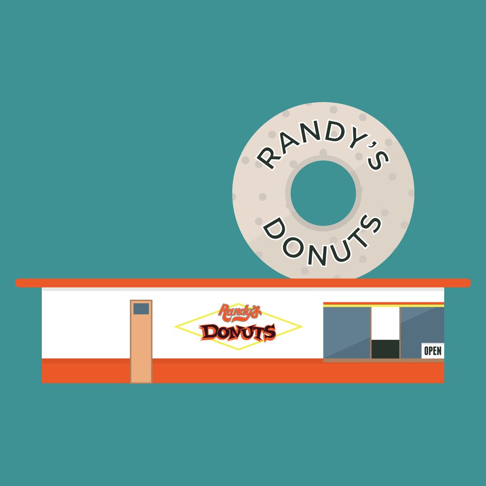 Randy's Donuts 805 West Manchester Avenue, Inglewood, California. Built in 1953.  Located near the Los Angeles International Airport, Randy's Donuts is a bakery and landmark that is a prime example of programmatic architecture — buildings and structures built in unusual shapes for the purpose of advertising. The donut measures 32.5 ft and was featured on the ten original locations of the Big Donut Drive-In chain (two were smaller, 23 ft versions,) and four donuts still remain standing.