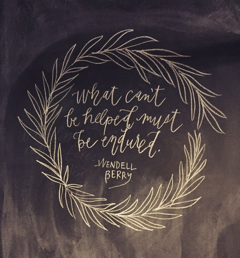 Quill and Arrow : Calligraphy Chalkboard Wendell Berry