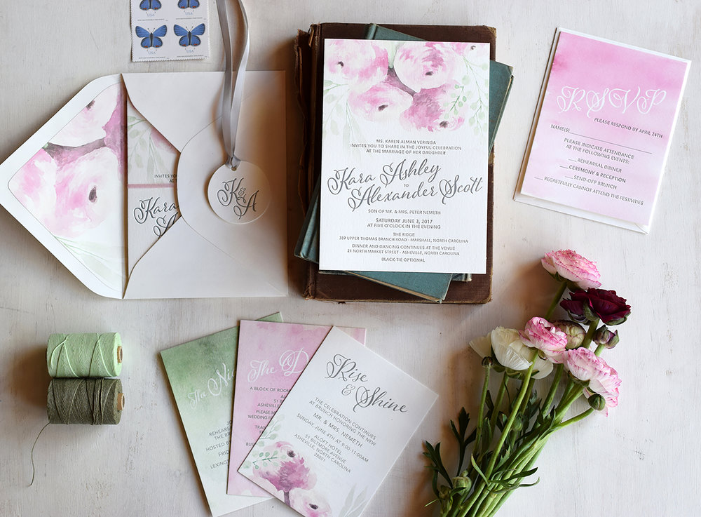 Kara & Alex: Indigo and letterpress printed wedding invitation suite with custom watercolor floral illustrations.