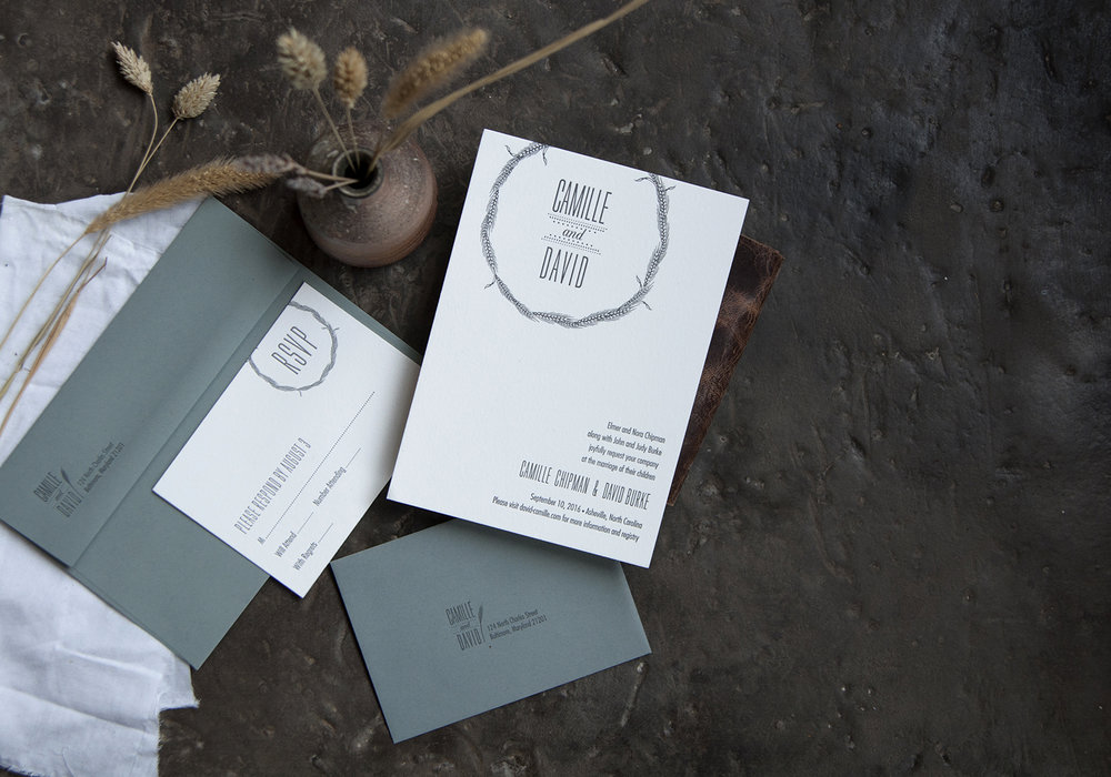 Camille & David: Letterpress printed wedding invitation suite.