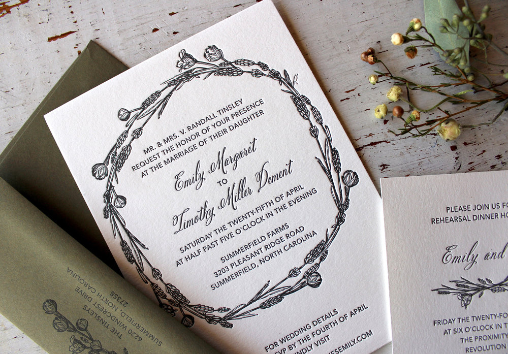Tim & Emily: Letterpress printed wedding invitation suite