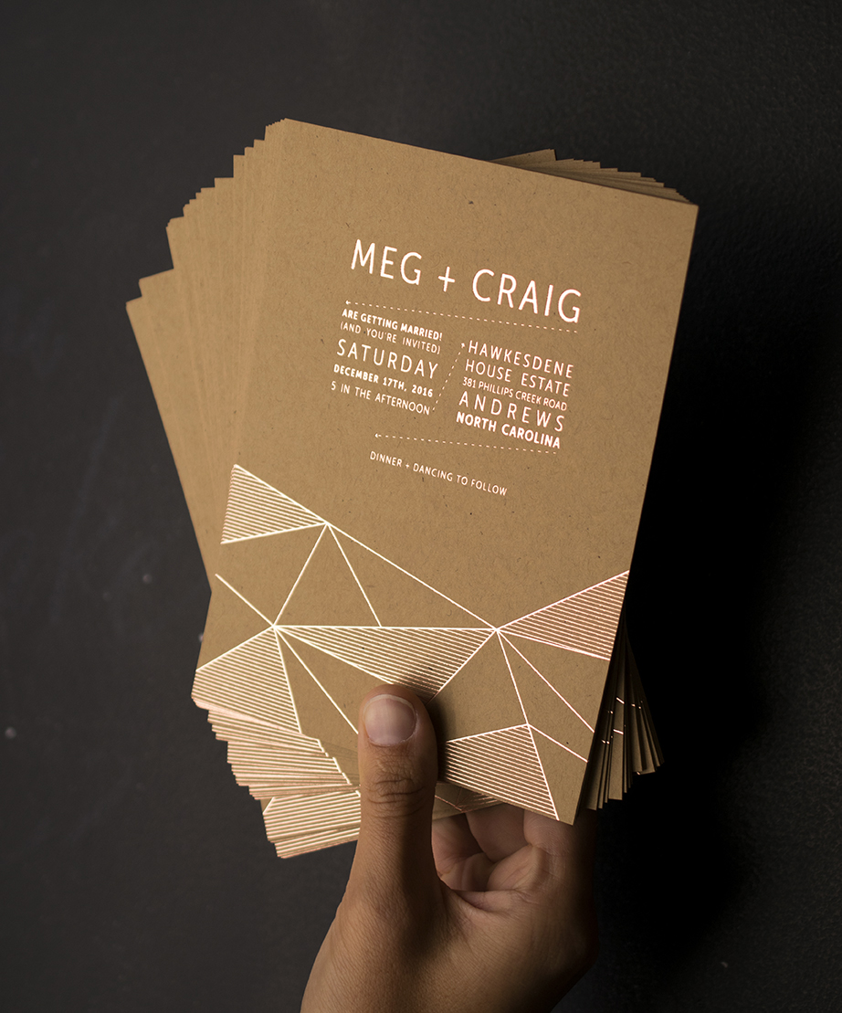 Meg & Craig: Rose Gold Foil on kraft paper. Designed at 7 Ton Co.