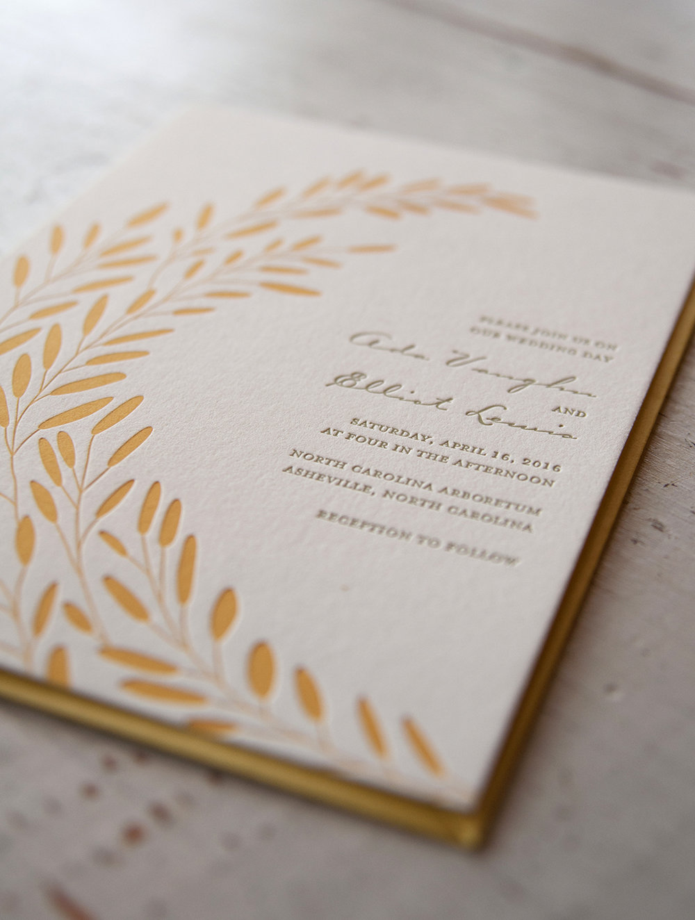 Ada & Elliot: Letterpress printed wedding invitation suite with custom illustration.