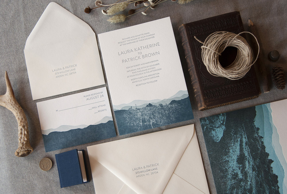Blue Ridge Mountain: Letterpress Printed Wedding invitation suite. Customizable.