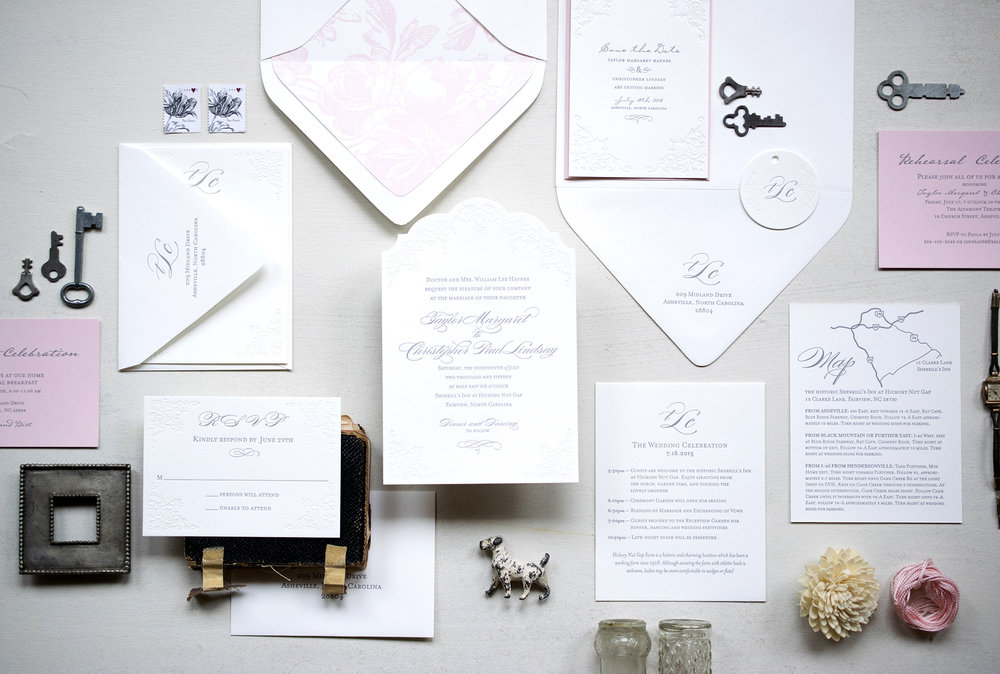 Taylor & Christopher: Letterpress printed wedding invitation suite. Designed at 7 Ton Co.