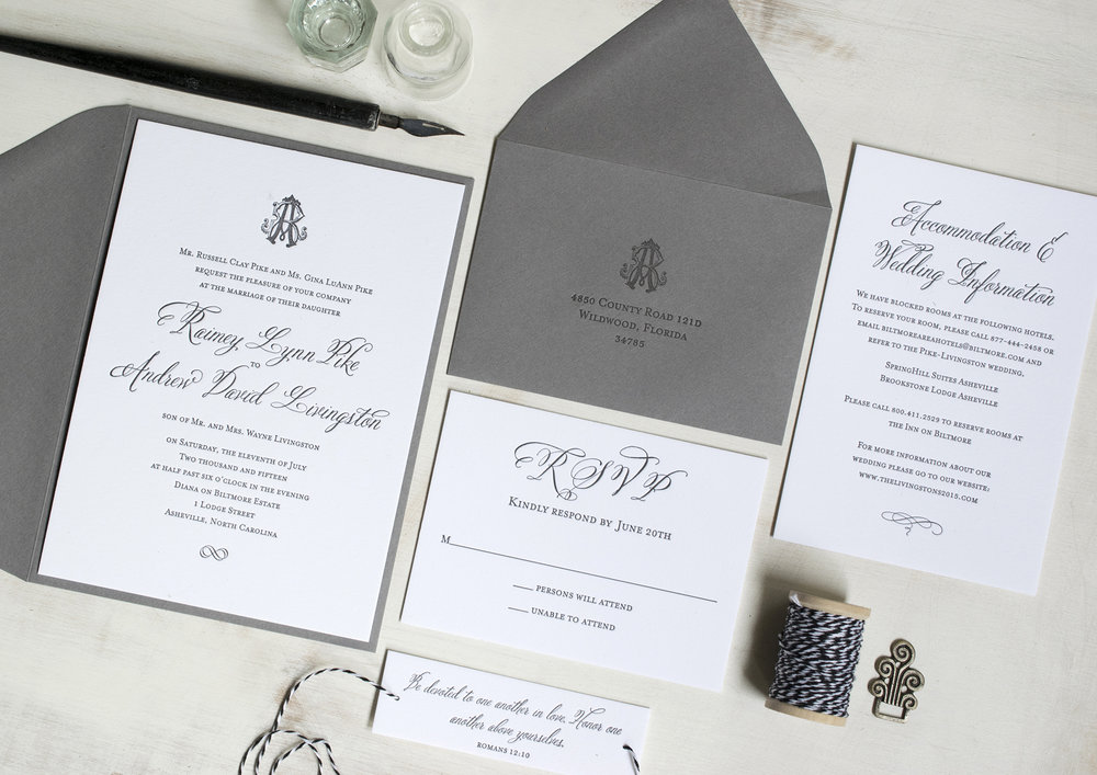 letterpress invitations quill and arrow