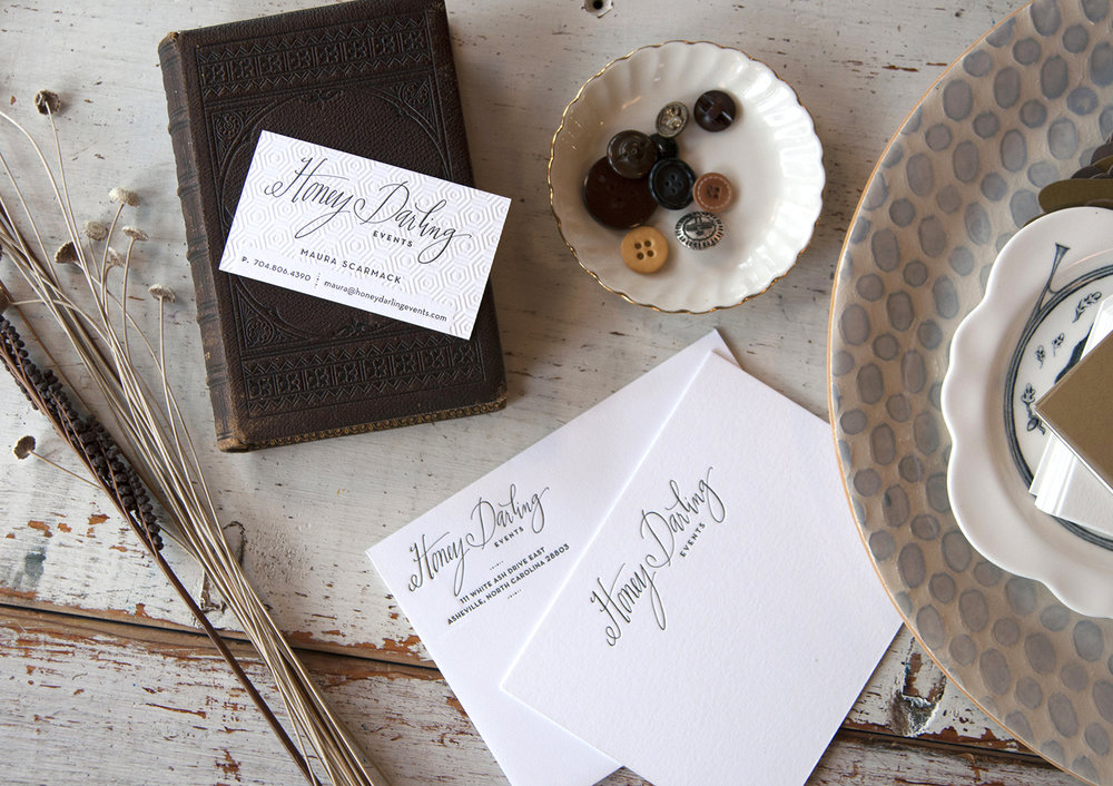 Honey Darling Events  Business Cards and Stationery : Design by  Atlas Branding  : Letterpress Printed with deboss and ink.