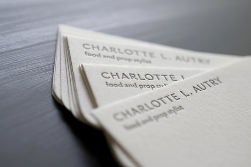 Letterpress custom printing quill and arrow custom business cards charlotte autry letterpress printed in one color with rounded accent corners colourmoves