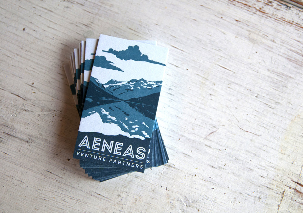 Aeneas Business Cards : Design by  ODDS  : Letterpress Printed in two colors on two sides.