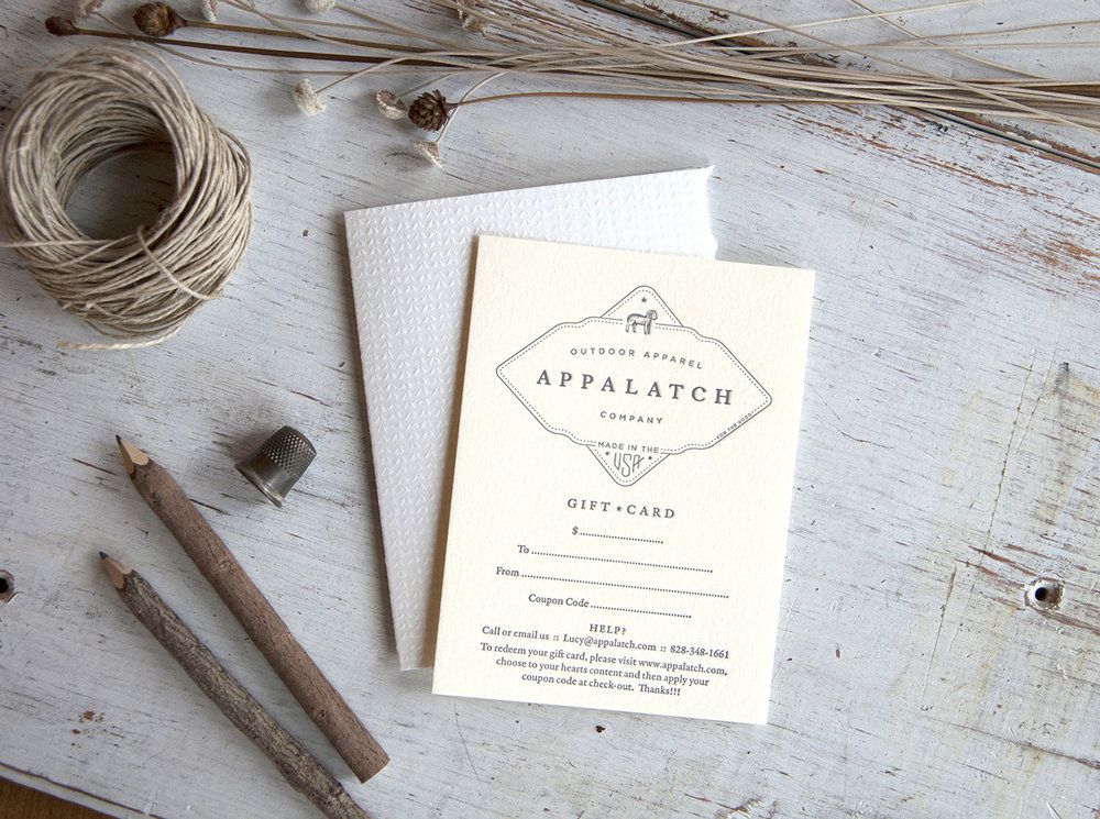 Appalatch : Gift cards and custom folders : Letterpress Printed