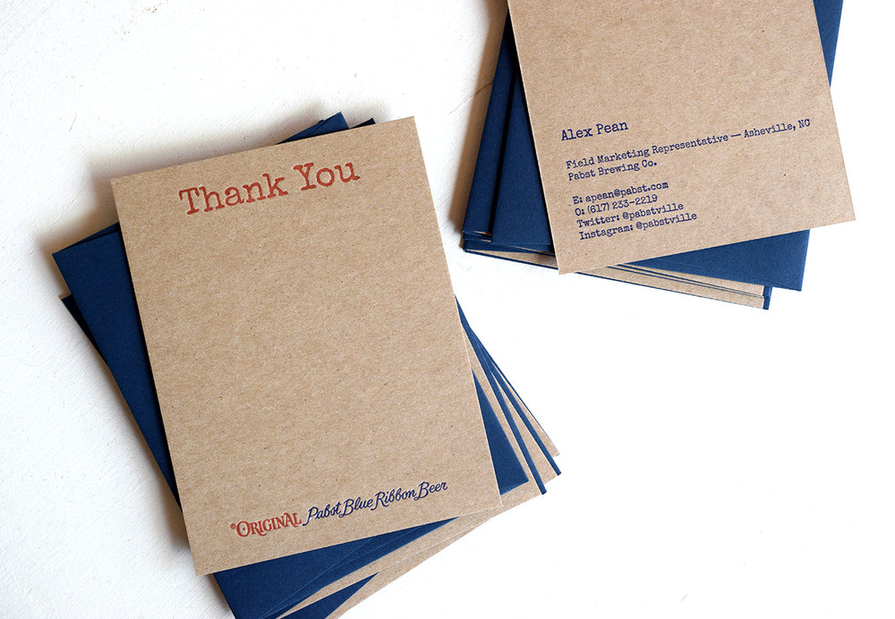 Pabst Blue Ribbon Stationery : Letterpress printed on two sides with corresponding envelopes.