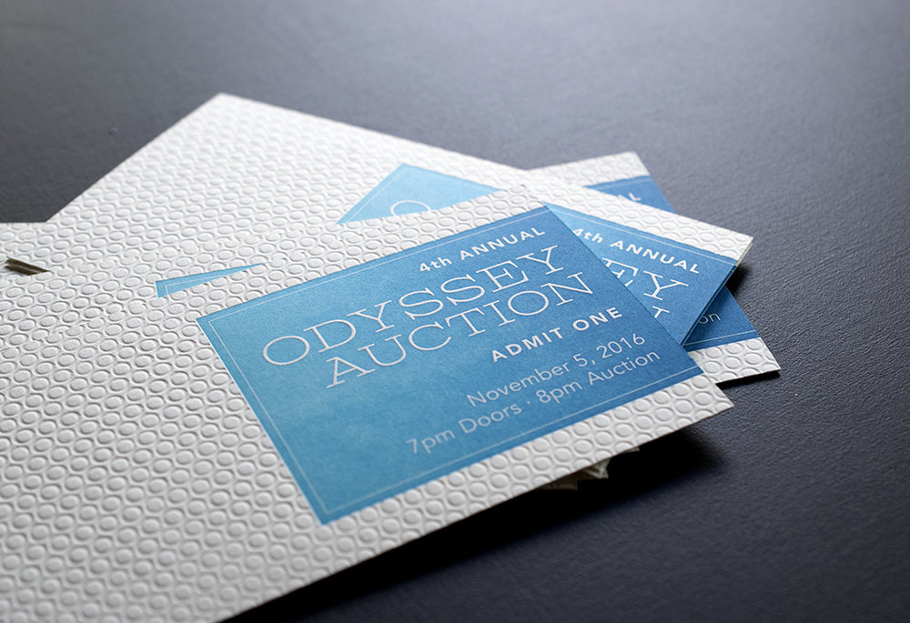 Odyssey Clayworks Auction Tickets : Letterpress Printed in two colors.