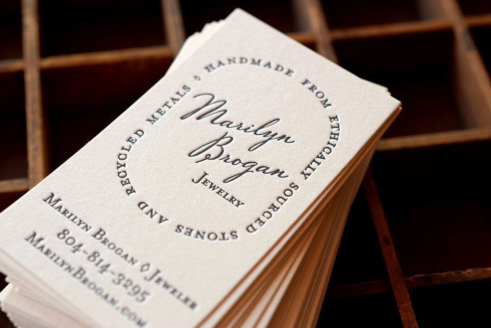 Marilyn Brogan Jewelry  Business Cards : Design by 7 Ton Co. :  Letterpress Printed.