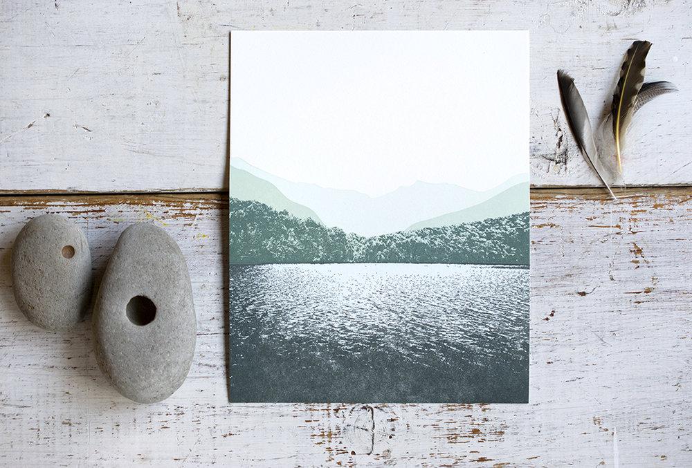 8x10 Mountain Lake Print : Letterpress Printed