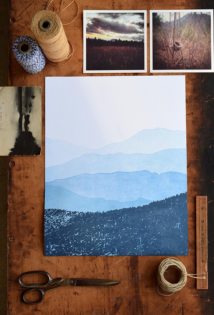 11x14 Mountain Print :Letterpress Printed