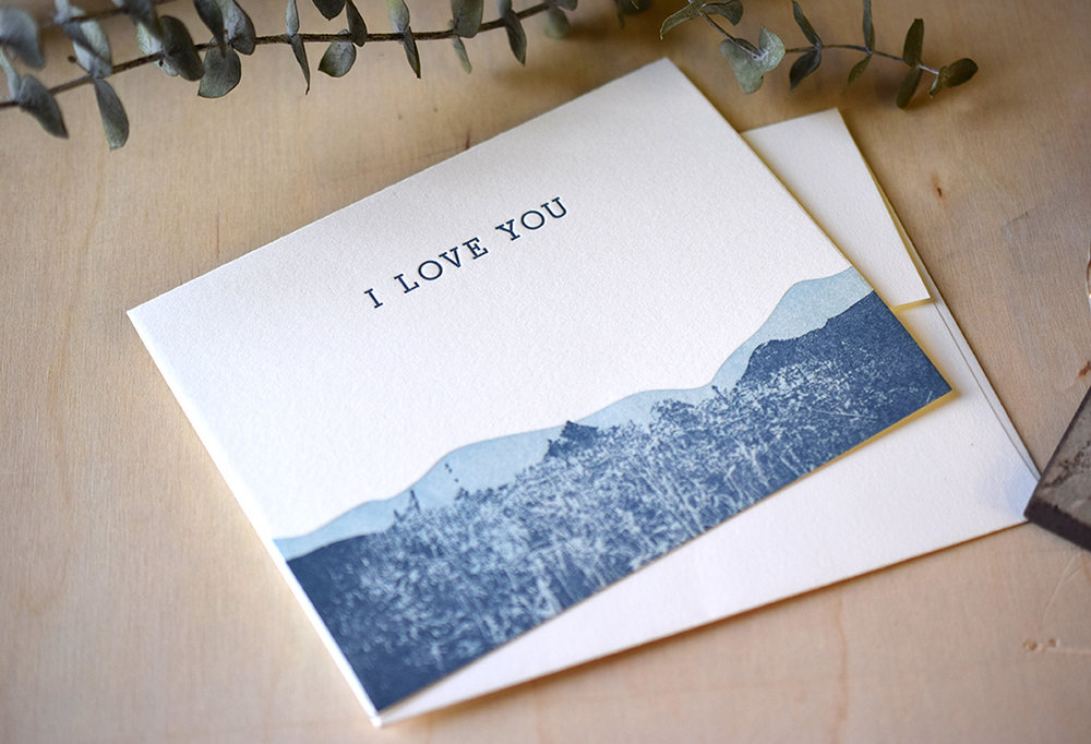 I Love You Mountain Notecard : Letterpress Printed