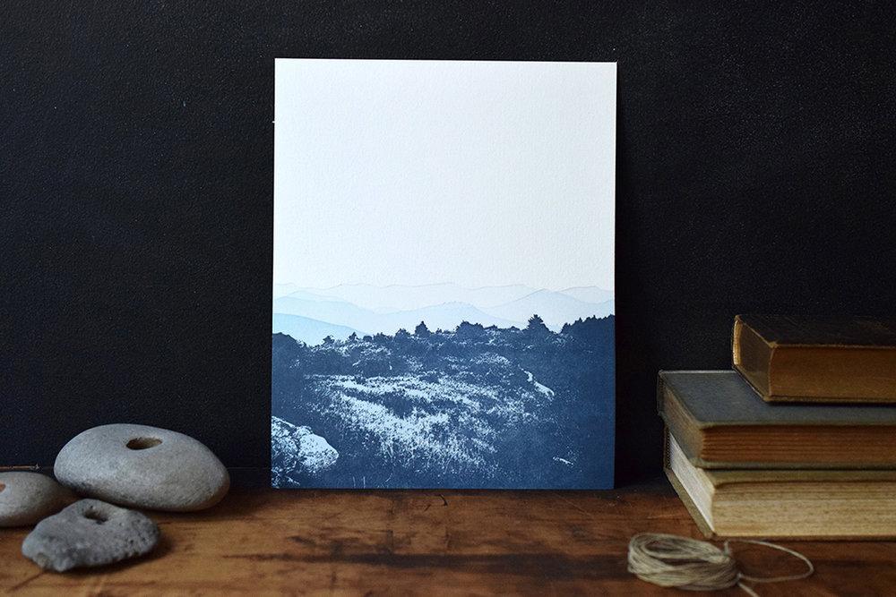 8x10 Mountain Print :Letterpress Printed