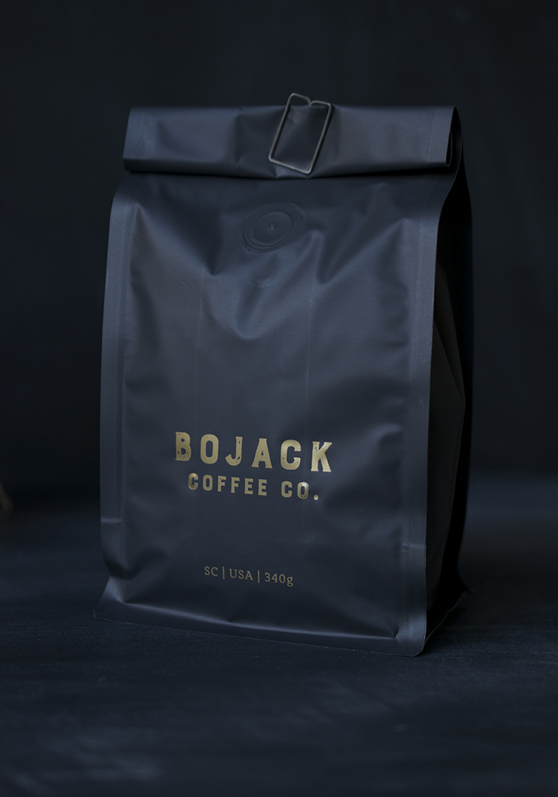 Bojack  logo and coffee packaging design. Designed with 7 Ton Co.